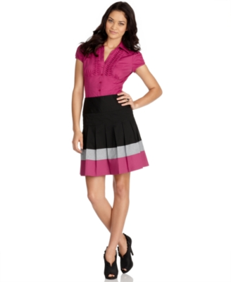BCX Skirt, Colorblocked Pleated Mini