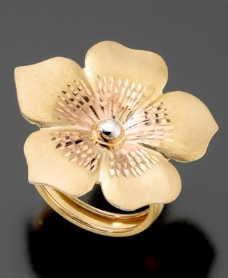 14k Gold over Sterling Silver and Sterling Silver Ring, Flower