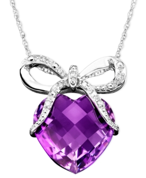 14k White Gold Pendant, Amethyst (5-1/3 ct. t.w.) and Diamond Accent Bow