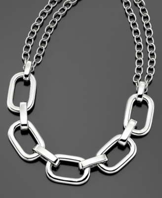 Kenneth Jay Lane Necklace, Rhodium-Plated Link