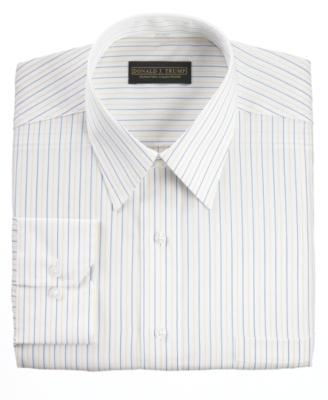 Donald Trump Dress Shirt, Non Iron White Blue Yellow Stripe