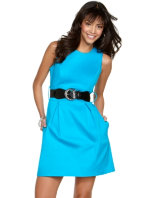 BCX Dress, Sleeveless Sheath with Belt