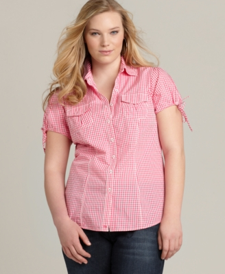 Tommy Hilfiger Plus Size Shirt, Cap Sleeve Gingham Camp