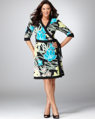 Alfani Plus Size Dress, Floral Print Wrap Front