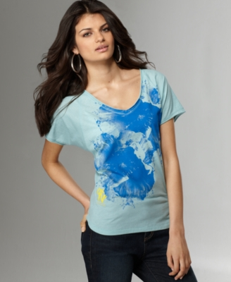 DKNY Jeans Top, Printed V-Neck