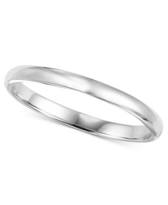 14k White Gold Ring, 2 mm Band (Size 8.5-13)