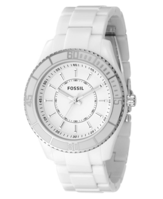 Fossil Watch, Women's White Resin Strap ES2442 - Polyurethane Sports Watch