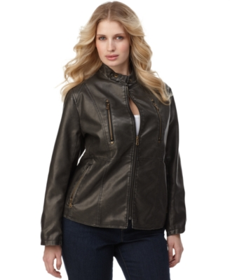 Calvin Klein Plus Size Jacket, Faux Leather Zip