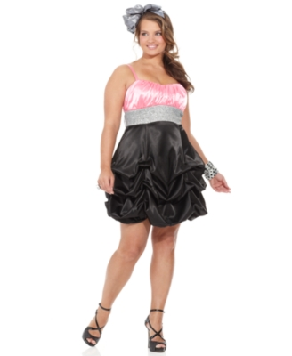 Ruby Rox Plus Size Dress, Satin Color Blocked Glitter Trim Prom Dress