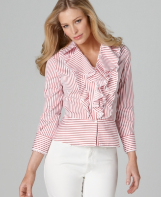 Jones New York Signature Blouse, Long Sleeve Ruffled Striped