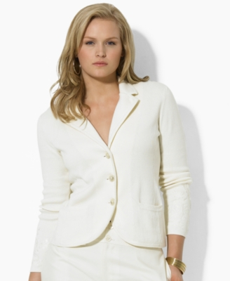 Lauren by Ralph Lauren Plus Size Sweater, Lillien Embroidered Sleeve Cardigan