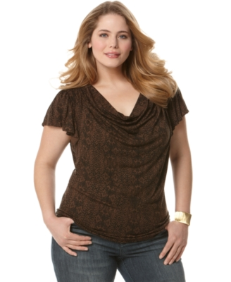 MICHAEL Michael Kors Plus Size Top, Flutter Sleeve Printed