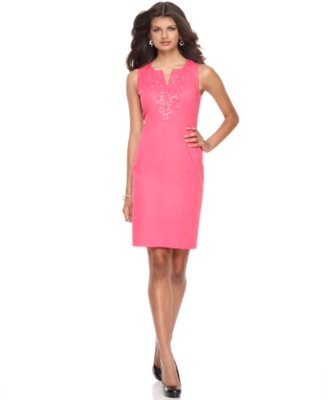 Rafaella Dress, Sleeveless Embellished Sheath