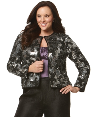 Adrianna Papell Plus Size Jacket, Sequin Celebrity
