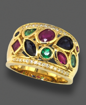 14k Gold Ring, Multi-Stone (2-3/8 ct. t.w.) and Diamond (1/6 ct. t.w.)