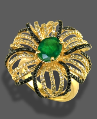 Effy Collection 14k Gold Ring, Emerald (1-1/2 ct. t.w.) and Diamond (1-1/3 ct. t.w.) Flower