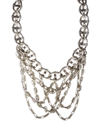 Jessica Simpson Necklace, Silvertone Mixed Metal Multi Chain - Layered Necklaces