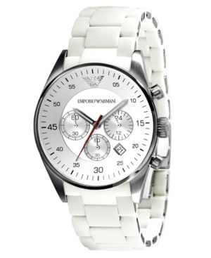 Emporio Armani Watch, Men's Chronograph White Silcone and Stainless Steel Bracelet AR5859