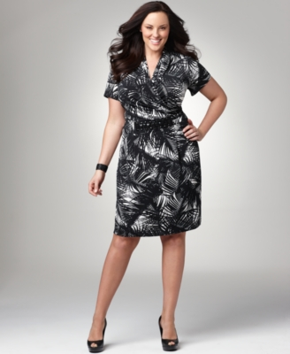 Alfani Plus Size Dress, Printed Faux Wrap