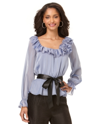Adrianna Papell Top, Long Sleeve Ruffled Neckline