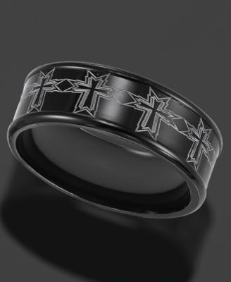 Men's Stainless Steel Ring, Black 8 mm Band (Size 8-15)