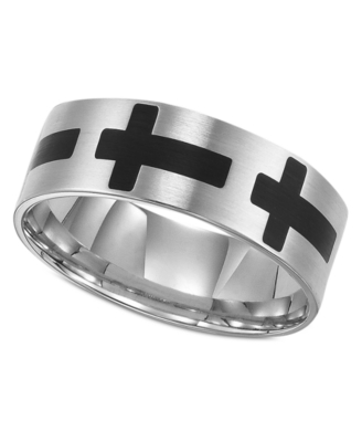 Men's Titanium Ring, Black Cross (Size 8-15)