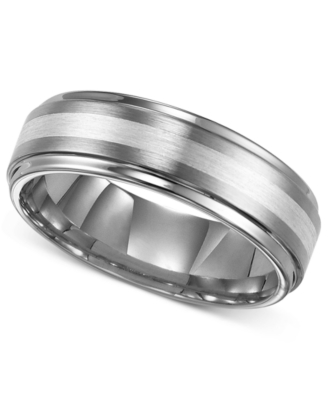 Men's Tungsten and Sterling Silver Ring, 7 mm Band (Size 8-15)