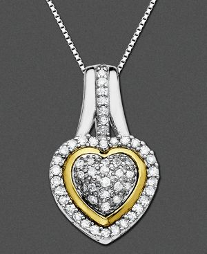 14k Two Tone Gold Pendant, Diamond Heart (1/5 ct. t.w.)
