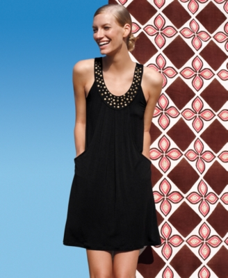 Kenneth Cole Reaction Cover Up, Studded Neckline with Pockets Women's Swimsuit