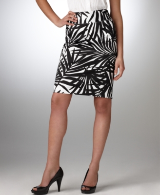 Alfani Skirt, Palm Print Pencil