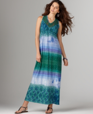 One World Dress, Sleeveless Mixed Stripe Lace Trim Maxi