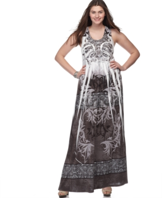 One World Plus Size Dress, Sleeveless Cleopatra Sublimation Print Maxi