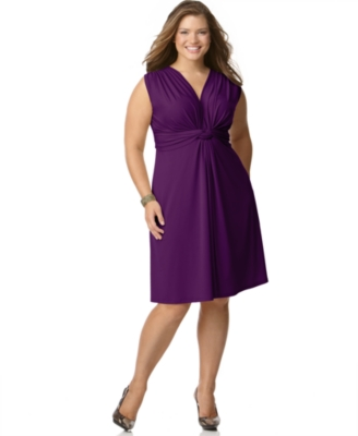 Love Squared Plus Size Dress, Sleeveless Knot Front - Love Squared