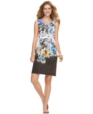 NY Collection Dress, Sleeveless Floral Sublimation Print Racerback