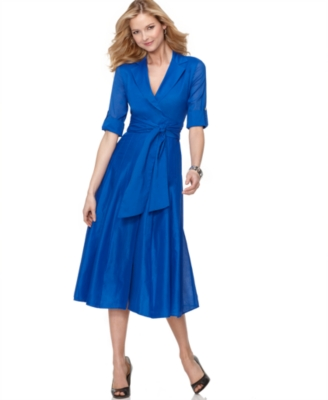 Jones New York Dress, Elbow Sleeve Faux Wrap