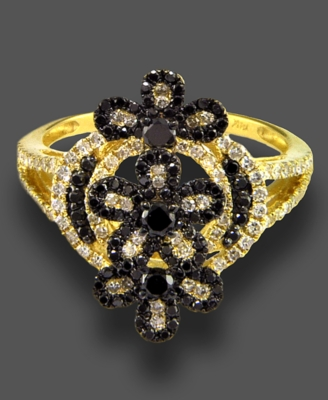 14k Gold Ring, Black and White Diamond (2-1/2 ct. t.w.) - Decorative Rings
