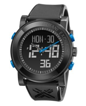 AX Armani Exchange Watch, Men's Black Polyurethane Strap AX1079