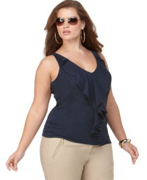 MICHAEL Michael Kors Plus Size Top, Sleeveless Ruffled
