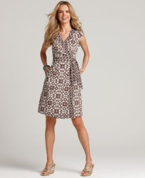 Tommy Hilfiger Dress, Mixed Print V Neck Wrap Dress