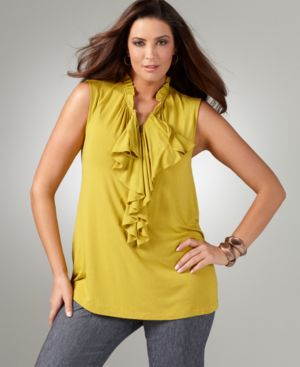 Alfani Plus Size Top, Sleeveless Ruffled Zip Neck