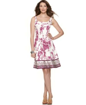 Nine West Dress, Sleeveless Floral Border Silk