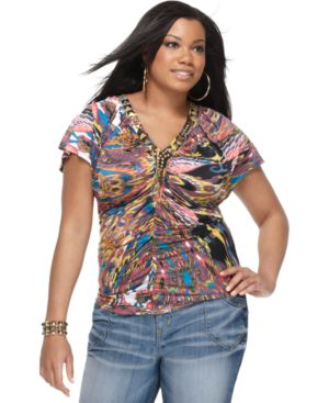 Baby Phat Plus Size Top, Flutter Sleeve Ikat Print Ruched Studded