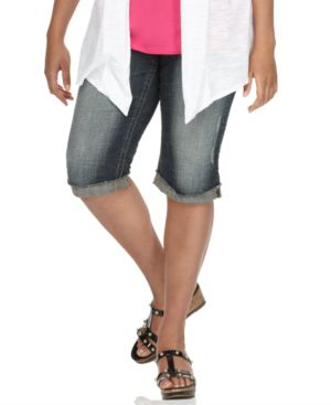 Hydraulic Plus Size Jeans, Stitched Pocket Skimmer Medium Wash