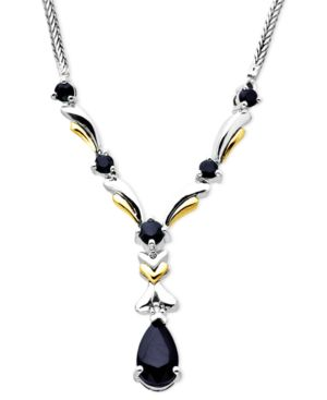 14k Gold and Sterling Silver Necklace, Sapphire (1-3/4 ct. t.w.) and Diamond Accent Link - Jewelry