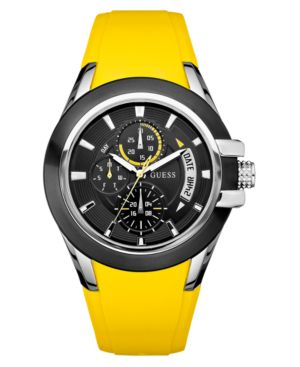 GUESS Watch, Men's Yellow Silicone Strap U10575G5