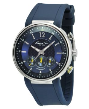 Kenneth Cole New York Watch, Men's Chronograph Blue Silicone Strap KC1647