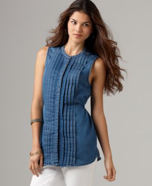 DKNY Jeans Top, Sleeveless Pleated Button Front Tunic