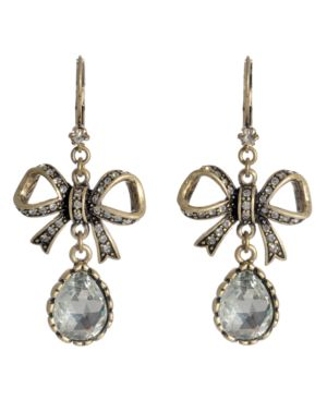Betsey Johnson Earrings, Crystal Bow