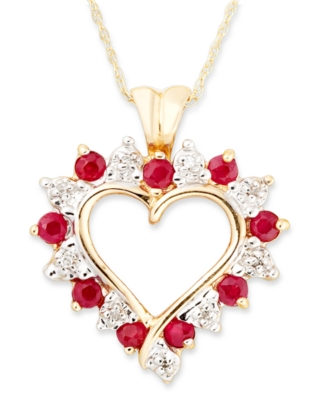 14k Gold Ruby & Diamond Accent Heart Pendant