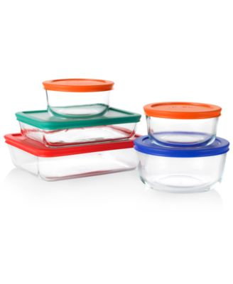 Pyrex Food Storage Containers, 10 Piece Set with Colored Lids